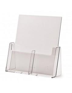 Expositor Plexiglas Sobremesa Folletos 1/3 A4  1 Compartimento Doble