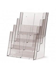 Expositor Plexiglas Sobremesa de Folletos A4 4 Compartimentos